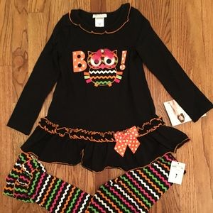 NWT Bonnie Jean Size 7 Black Boo Owl Pants Set